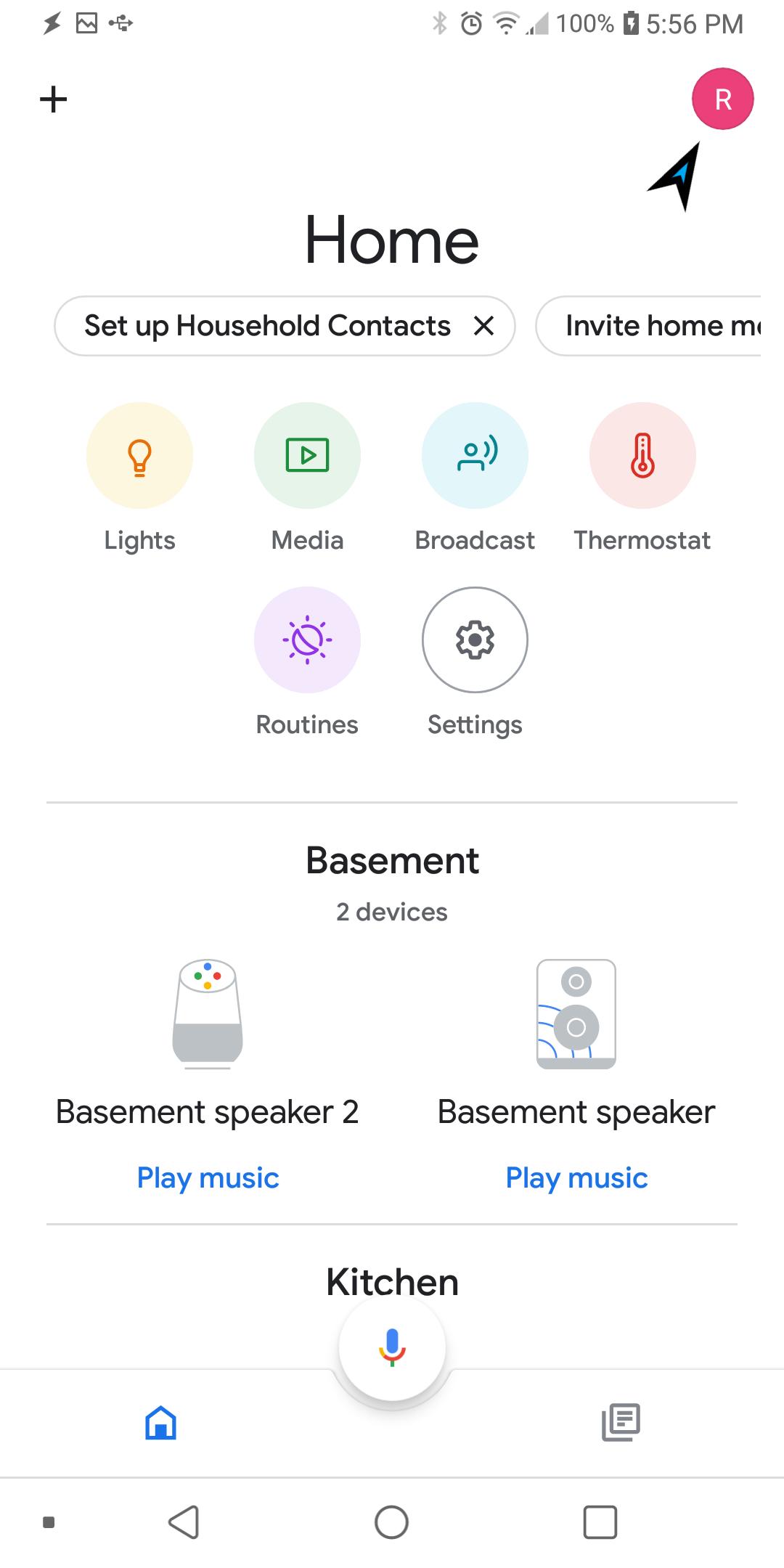 Google Home menu