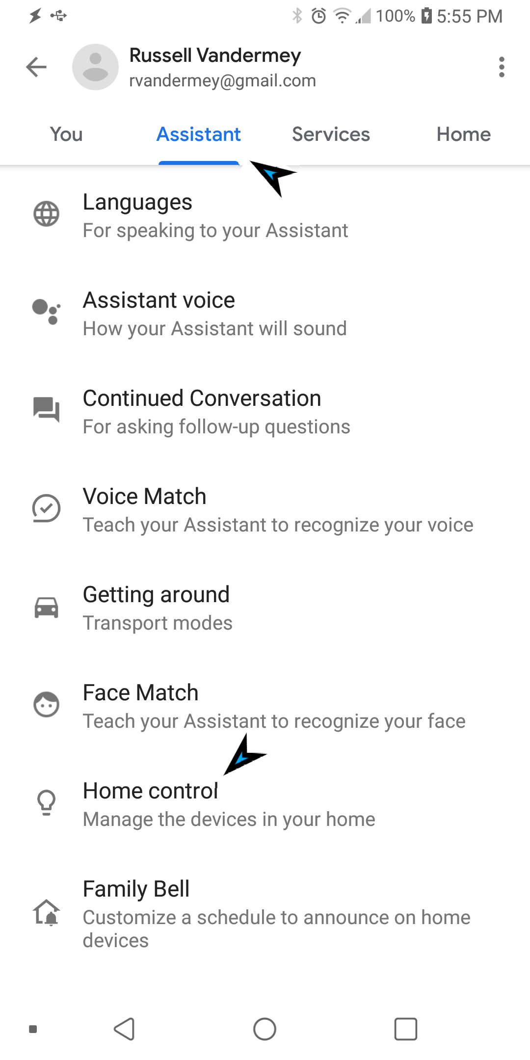 Assistant tab Home Control